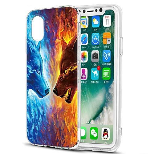Pnakqil Cover Samsung Galaxy S5 Mini Case,Silicone TPU Morbido Anti-Graffio Antiurto Custodia Trasparente Protettiva per Custodia Cover Samsung Galaxy S5 Mini,2 Lupo