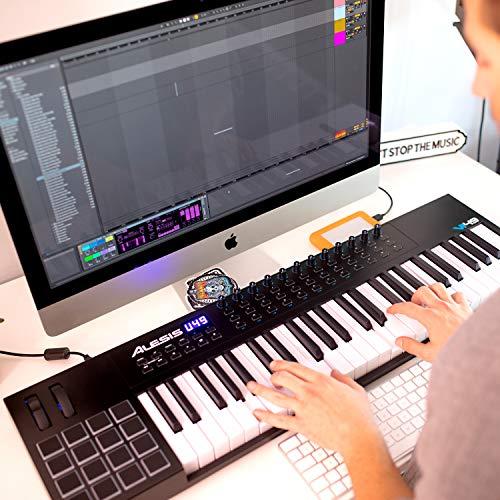 Alesis VI49 - Teclado Controlador MIDI USB de 49 Teclas con 16 Pads, 12 Mandos y 36 Botones Todos Asignables, Salida MIDI de 5 Puntas y un paquete de software profesional con ProTools   First incluido