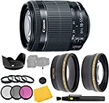 Canon EF-S 18-55mm f/3.5-5.6 is STM Lens + Filter Set + Close Up Macro Filters + Wide Angle Lens + Telephoto Lens + Pro Accessory Bundle - 18-55mm STM: International Version (1 Year AOM Warranty)