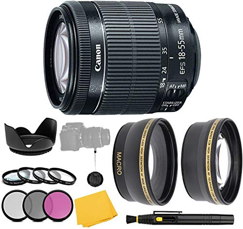 CanonEF-S 18-55mm f/3.5-5.6 is STM Lens + Filter Set + Close Up Macro Filters + Wide Angle Lens + Telephoto Lens + Pro Accessory Bundle - 18-55mm STM: International Version (1 Year AOM Warranty)
