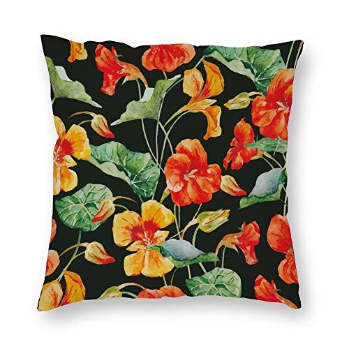 Funda de almohada sin marca de doble cara impresión flores amarillas brillantes hojas verdes cubierta de cojín corto de felpa con cremallera oculta cómoda cuadrada para dormitorio sofá de 18 x 18 pulgadas