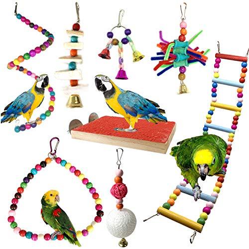 PietyPet Vogelspielzeug, 8 Stück Papageienspielzeug Kauspielzeug Vögel Spielzeug Holz Sitzstangen Plattform, Schaukel, Sitzplatz, Holz Leitern für Sittiche, kleine und mittelgroße Vogel Papageien