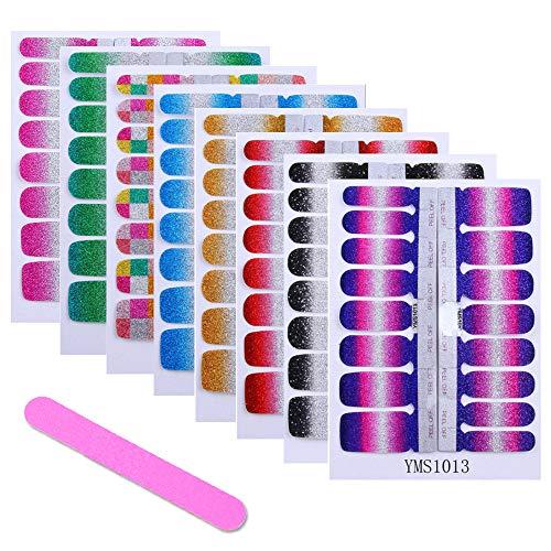 Ebanku 8 Sheets Full Wraps Nagellak Stickers Zelfklevend, 128 stks nail art decals stickers met 1 stks nagelvijl, pure kleurverloop glittery nail art ontwerpen voor vrouwen meisjes