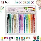 Lack Marker Stifte 12 Farben - auf Wasserbasis Farbe, Tinte Opak Tinte für Felsen Malen, Glas, Holz, Leinen, Stoff, Keramik, DIY Handwerk Karte Zeichnung Schreiben