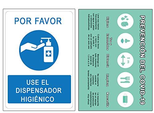 Señalización Coronavirus COVID19 | Señales Dosificador de Jabón + Pautas Preventivas | Carteles para Empresas, Comercios, Oficinas | Autoinstalable | 21 x 30 cm