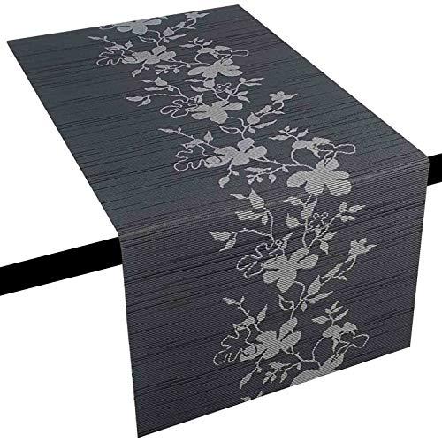 DecoHomeTextil Miami 3D Druck LFGB Food Safe Tischläufer Tablerunner Breite 40 cm Länge & Farbe wählbar Grau 40 x 100 cm