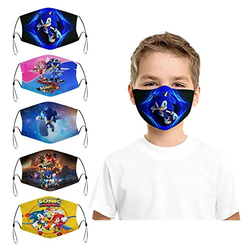 5Pcs So-nic The Hedgehog Game Printed Kids Face Mask with 10 Filter Reusable Washable Anti Dust Face Cover Balaclava for Boys Girls