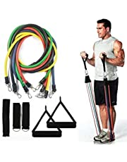 CLHCilihu Oefening Resistance Bands Kit, 11 Stks Thuis Multi Gym Set,5 TPE Fitness Tubes, Handgrepen, Deur Anker, Enkelbanden, Draagtas