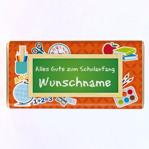 Striefchen® 100g Schokolade - zur Einschulung in die Schultüte - Motiv: Tafel - Orange - gratis Name