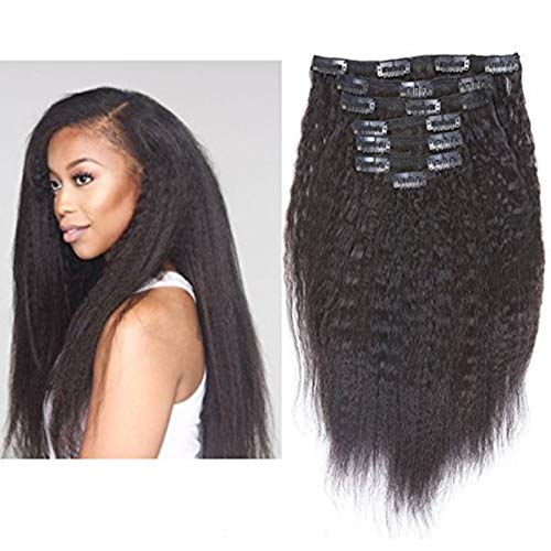Anrosa Kinky Straight Clip ins Extensions Human Hair Thick Afro Clip in Extension for African American Black Women Thick Big Volume Natural Hair Color 120 Gram 10-22 Inch (10 INCH, Kinky Straight #1B)