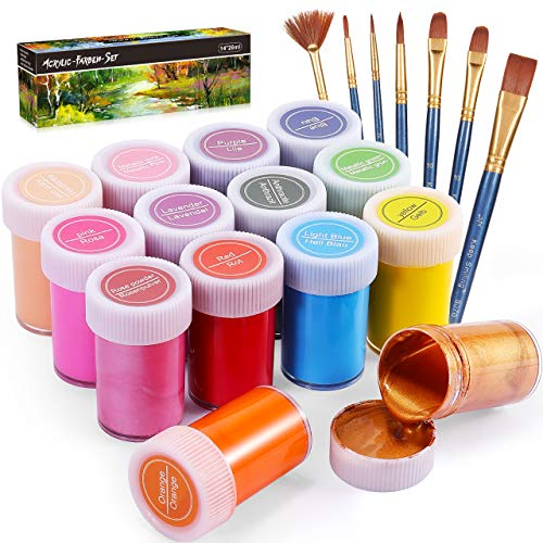 Gifort Acrylfarben Set mit 7 Pinsel, 14 Farb-Pigmenten je 20 ml, Acrylfarben auf Wasserbasis für Steine, Holz, Papier und Leinwand, Acryl Farben Set für Kinder, Erwachsene, Bastler, Profis