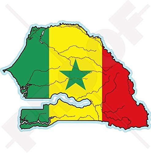 SENEGAL Senegalesische Karten-Flagge Westafrika, DAKAR Afrikanisch 115mm Auto & Motorrad Aufkleber, Vinyl Stickers