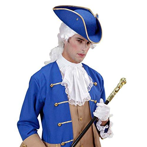 NET TOYS Kapitän Dreispitz Hut Piratenhut blau Jack Sparrow Filzhut Uniform Kopfbedeckung Seefahrer Mütze Soldat Kopfbedeckung Funken Tanzmarie Rokoko Barock Kostüm Accessoire
