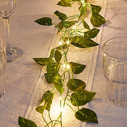 surfsexy 25 luces LED de hadas con hojas, 2 pies de hoja verde de ratán cadena de luz artificial de flores decorativas atmósferas de la cadena de luces de decoración de boda, fiesta, jardín dormitorio