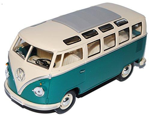 Kinsmart Volkwagen T1 Grün Weiss Samba Bully Bus 1950-1967 1/24 Modellcarsonline Modell Auto mit individiuellem Wunschkennzeichen