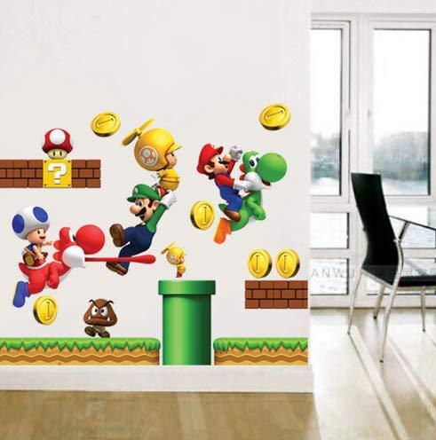 ZKPMJH Pegatinas de Vinilo extraíbles Pegatinas de Pared Decoración para el hogar S Gigante Super Mario Bros Niños Pegatinas de Pared Removibles para el hogar