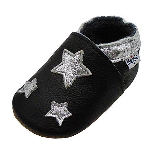 Mejale Cuir Chaussures Bébé Chaussons Bébé Chaussures Enfants Chaussons, Noir, Silver Stars, 12-18 mois (Taille Fabricant: L)