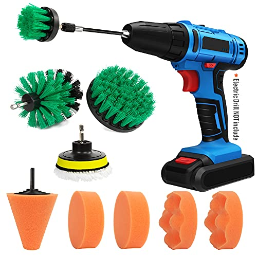 HUSTON LOWELL 12 PCS Drill Brush Car Polishing Pads Clean Detailing Kit with Extend Attachment for Cleaning Car Interior, Boat, Bathroom,Wheels, Hubs Care(ELECTRIC DRILL IS NOT INCLUDED)