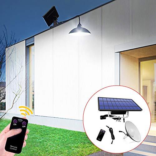 WERTAZ Solar Hängelampe Pendelleuchte LED Solar Hängeleuchte mit Fernbedienung Solarpanel 180 ° breites verstellbares Solarpanel für den Gartenhof im Innenhof