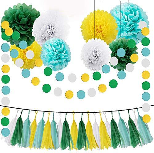 HEARTFEEL Yellow Green White Aqua Blue 30pcs Tissue Paper Pom Poms Tassel Garland Kit for Wedding Bridal Shower Decorations Birthday Party Decor Supplies