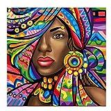 DIY pintura al oleo por numeros,pinturas diamantes 5D punto de cruz diamante para hacer manualidades diamond painting decorar la pared, pintura numeros mujer africana con brillantes 25 x 25 cm