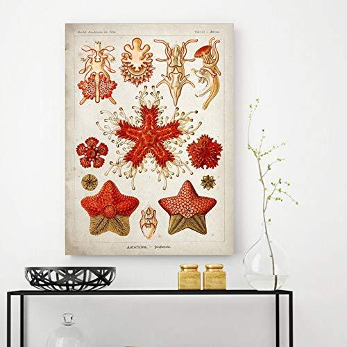 UIOLK Carteles e Impresiones de Vida Marina Antigua Lienzo Educativo Pintura al óleo Medusas Coral Algas Verdes Mural decoración de Dormitorio Familiar