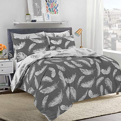 Adam Home 3 Pcs Duvet Cover Set (Double, Feather Charcoal) - Reversible Quilt Cover Set - Soft & Durable 1 Duvet Cover, 2 Pillow Covers - Luxurious & Comfortable Printed Bedding Set