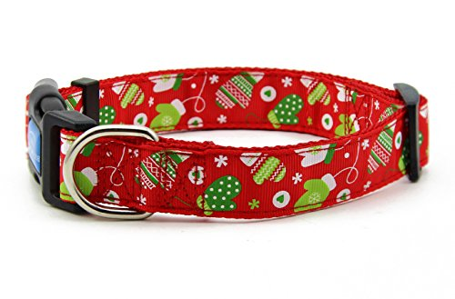 BIG SMILE PAW Nylon Dog Collar Adjustable,Christmas/Winter Theme (L)