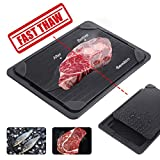 GEMITTO Fast Defrosting Tray for Meat, Aviation Aluminum Rapid Thawing Plate for Faster Defrosting Frozen Food, Quicker Safer Way to Defrost Meat Pork Beef Fish(Black Plate with Drip Tray)