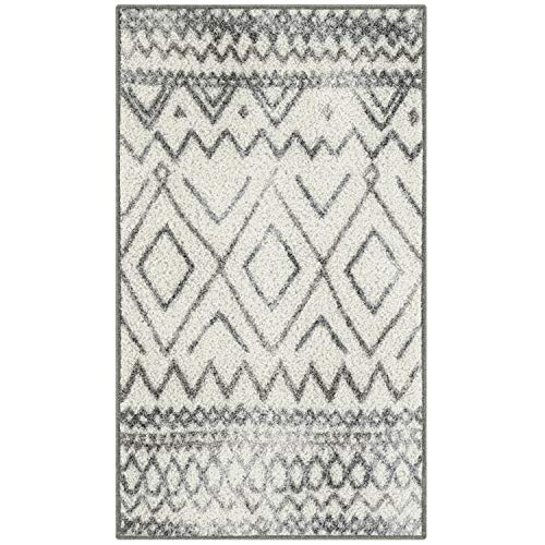 Maples Rugs Abstract Diamond Modern Distressed Kitchen Rugs Non Skid Accent Area Floor Mat [Made in USA], 1'8 x 2'10, Neutral