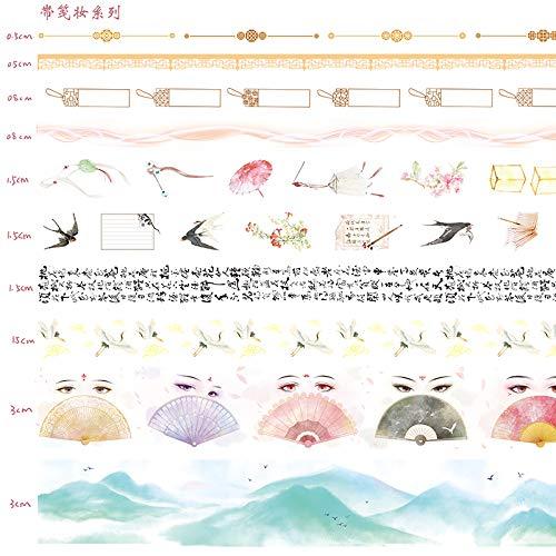 CHINAJIAODAI Ruban adhésif 10 rouleaux coffret cadeau fille coeur sac à main ruban base compte à la main matériel décoration et bande de papier petits autocollants frais, avec maquillage