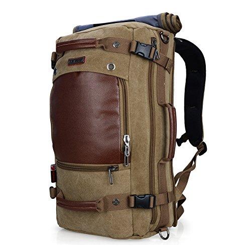 WITZMAN Canvas Backpack Travel Rucksack Backpack Vintage Duffel Bag Laptop Bag Casual Daypack (18.5 inch Light Green)