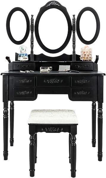 Bonnlo 7 抽屉梳妆台套装女孩三折叠镜子化妆梳妆台台带软垫凳子 2 抽屉隔板 2 化妆刷支架黑色