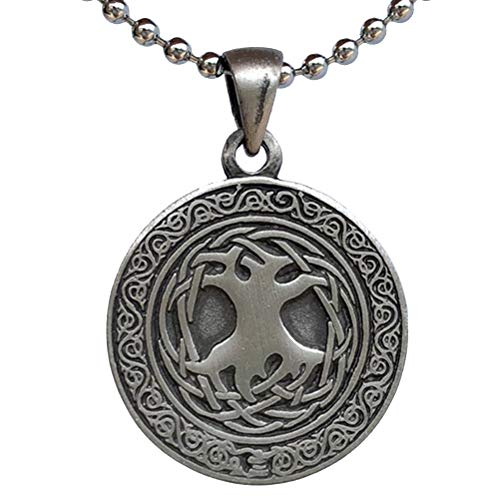 Yggdrasil Astru Norse Viking Pagan Jewelry Celtic Sacred Tree of life Bonsai Kabbalah Pewter Unisex Women's Men's Pendant Necklace Medallion Charm protection amulet for Men Women W Silver Ball Chain