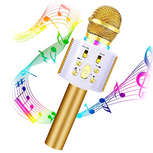 Karaoke Microphone for Kids,FISHOAKY 3 in 1 Handheld Wireless Bluetooth Microphone Speaker Music Singing Voice Recording Karaoke Machine with Android/iOS for Home KTV Player Outdoor