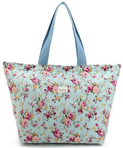 Women's Hobo Handbags,Tote Shopping Bag For Women,Gym Tote Bags,Travel Tote Bags,Shoulder Bag for Gym Beach Travel Daily Bags (S, E-Tote Bag-Floral-Green)