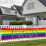 Pride Banner Rainbow Flag LGBT Decorations Love Multiple Words Joint Lesbian Gay bisexual Transgender Bi LGBTQ 120' x 20' Yard Sign Party Supplies Decor Vivid Color Hanging for Outdoor Celebration Indoor Decoration House Home Garden Gathering Event