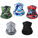 Neck Gaiter Face Mask Dust for Men Women Sun UV Protection Cool Bandana Washable Reusable Face Scarf Fishing Hunting Cycling Sports(5 Pack)
