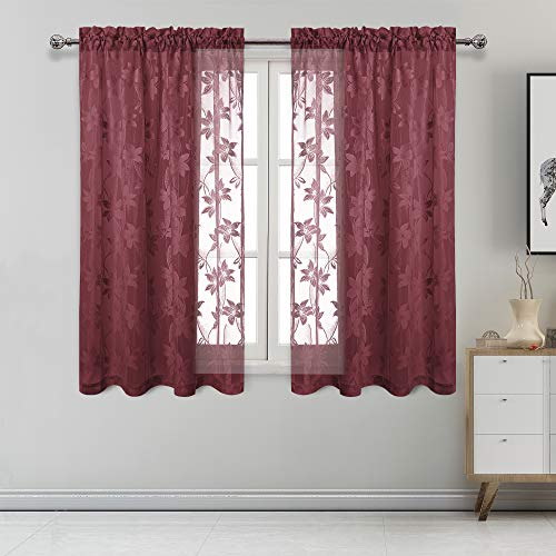 DWCN Floral Lace Sheer Curtains - Rod Pocket Window Voile Sheer Drapes for Bedroom Kitchen Short Curtains 42 x 54 inch Length, Set of 2 Burgundy Curtain Panels