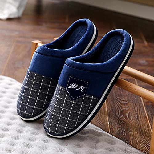 Kirin-1 Zapatillas de Estar en casa Hombre,Zapatillas de algodón para Hombres de Gran tamaño Invierno Térmico de Interior Grueso 49 más Velvet 50 Zapatillas para el hogar Hombres-Azul_47-48