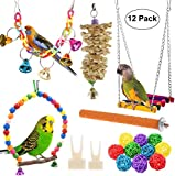 Acidea 12 Packs Bird Parrot Swing Chewing Toys - Hanging Bell Birds Cage Toys Suitable for Small Parakeets, Cockatiel, Conures,Finches,Budgie,Macaws, Parrots, Love Birds