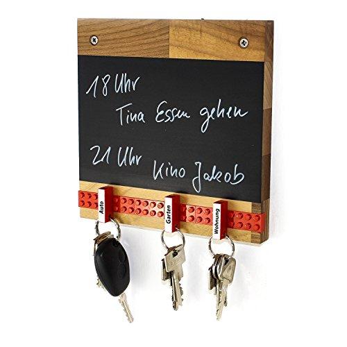 Schlüsselbrett Play 204 Holz | Für die ganze Familie | Schlüsselleiste Nussbaum mit 5 Schlüsselanhängern zum selbst beschriften | Memoboard Tafel mit Kreidestift | rot