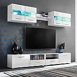 Tidyard 5 Piezas Mueble Salón Comedor Moderno Mesa para TV Mueble TV de Pared con LED y...