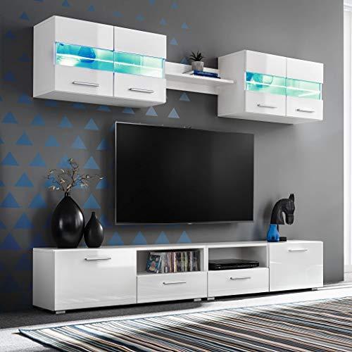 Tidyard 5 Piezas Mueble Salón Comedor Moderno Mesa para TV Mueble TV de Pared con LED y Puertas Plegables Estilo Contemporáneo Blanco Brillante