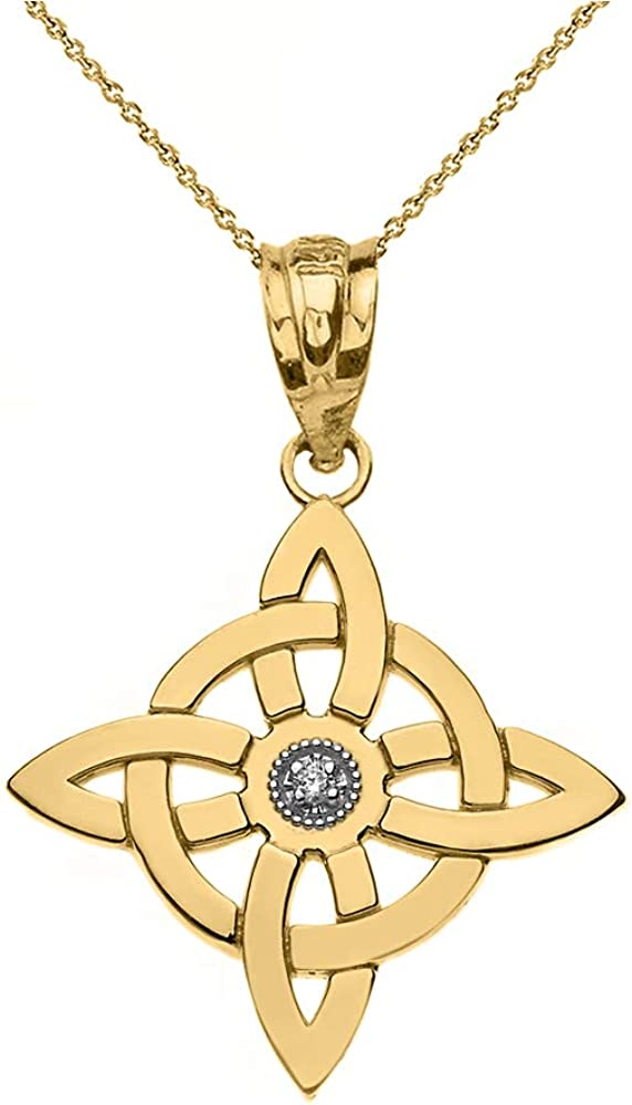 14k Gold Solitaire Diamond Now on sale Witch's Free Shipping New Wiccan Ne Knot Pendant Symbol