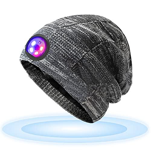 LED Beanie Beleuchtete Mütze mit Licht Achort Laufmütze Herren Damen Kappe Lampe USB Nachladbare Mütze Winter Warm Stirnlampe mit 5 LED Lampe und Blinkender Alarmscheinwerfer für Jogger Camping Laufen