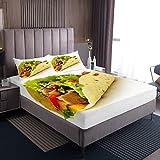 Yummy - Juego de ropa de cama con diseño de panqueques sabrosos con estampado de tortitas, sábana bajera ajustable para niños, niñas, estilo americano, decoración de habitación tamaño individual