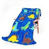 WISH TREE Dinosaur Blanket for Boys, Kids Throw Blanket with Dino Print for Bed Sofa Couch, 50x60 Inch Soft Fleece Blanket Dinosaur Room Decor Birthday