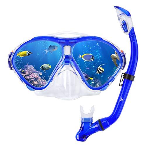 SKL Kids Snorkel Set Foldable Dry Snorkel Tube Kids Snorkeling SetTempered Glass Swimming Diving Scuba Goggles 180Panoramic ViewAnti Fog Snorkeling Gear Free Breathing for BoysGirls