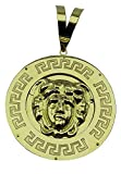 MegaJoyas Colgante Circular Oro de Ley 18 Klts con Greca y Medusa.